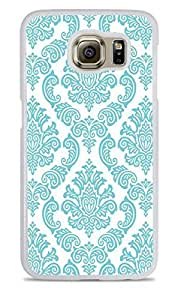 DamaskTeal White Silicone Case for Samsung Galaxy S6 EDGE