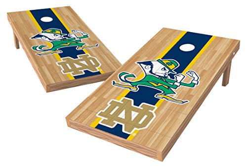 Dame Game Notre - Wild Sports NCAA College Notre Dame Fighting Irish 2' x 4' Hardwood Authentic Cornhole Game Set