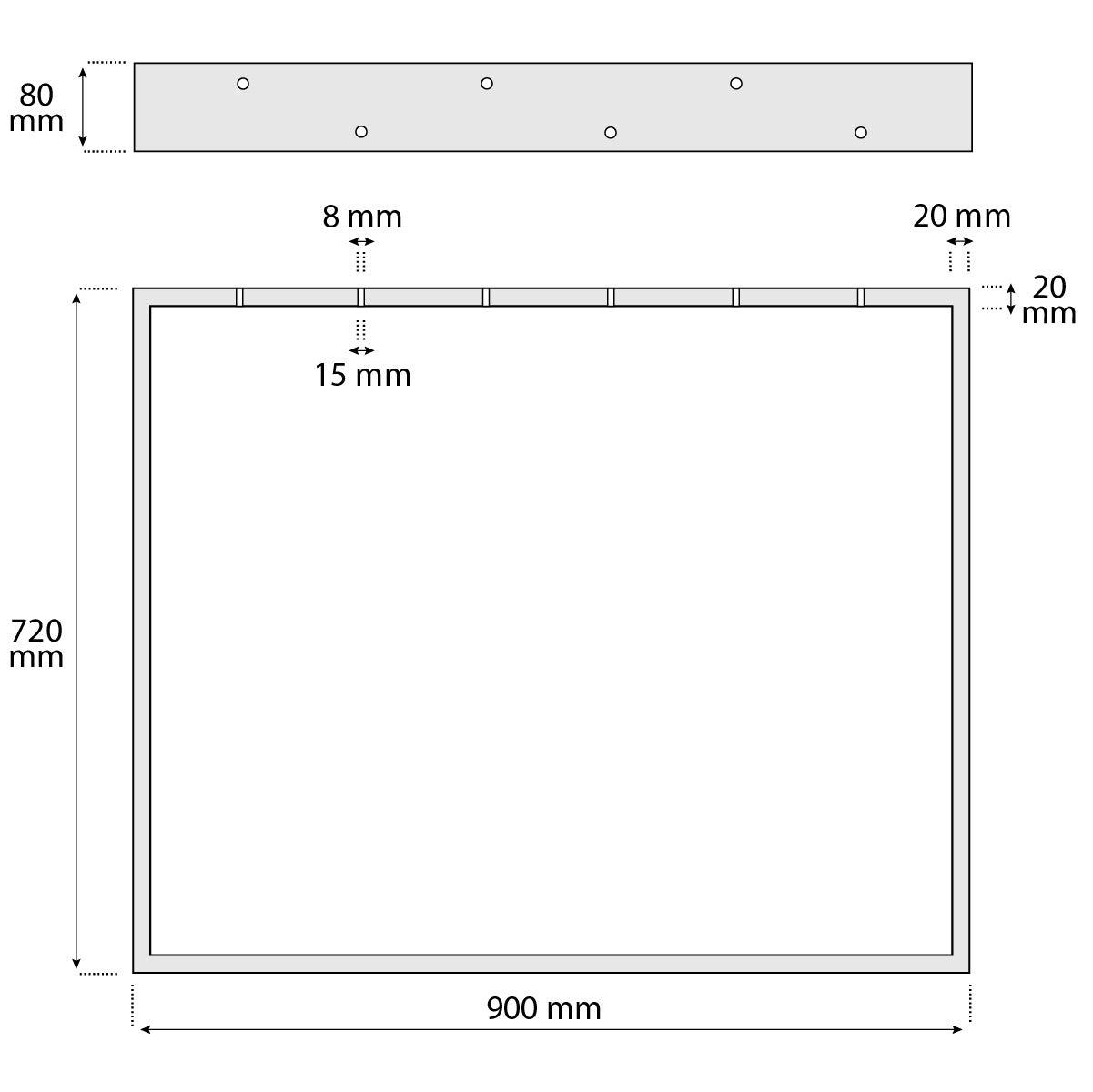 Cornice 30x43 cm HOLZBRINK 1x Gamba per Tavolo con Profilo In Acciaio 80x20 mm HLT-01-C-AA-7016 Grigio Antracite
