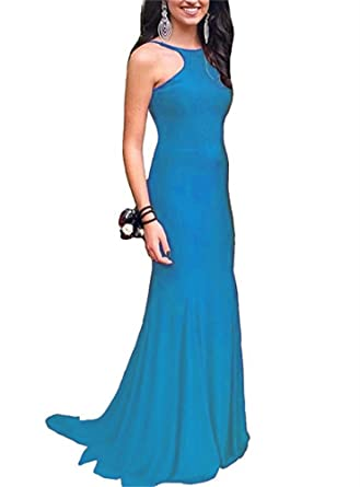 GMAR Charming Backless Prom Dresses 2018 Mermaid Long Party Evening Gowns For Women Blue Size 2