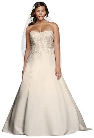 Satin Strapless A-line Plus Size Wedding Dress Style 9WG3788, Ivory ...