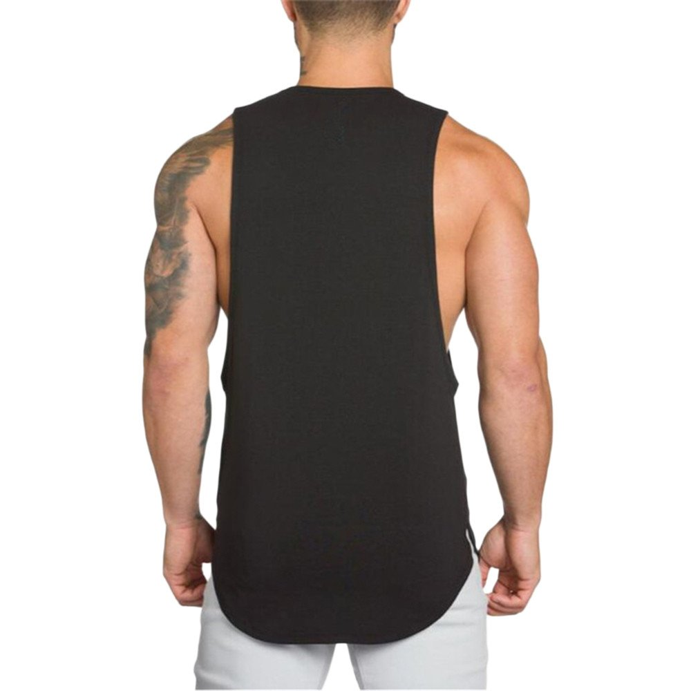 MODOQO Men's Tank Tops Fitness Sleeveless Cotton O-Neck T-Shirt Gym Vest(Black,M) by MODOQO (Image #3)