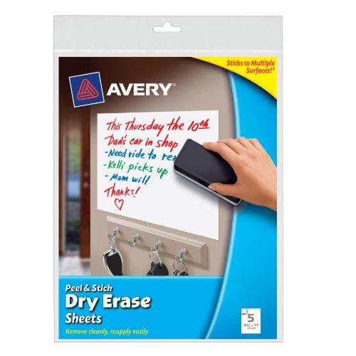 Avery Peel and Stick Dry Erase Sheets, 8.5 x 11 inches, White, 5 Sheets (24302) by Avery