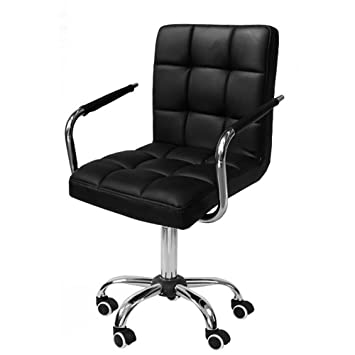 Awesome Yaheetech Black Faux Leather Home Office Computer Desk Chairs Swivel Stool Chair On Wheels Gmtry Best Dining Table And Chair Ideas Images Gmtryco
