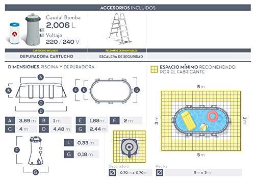 con depuradora de Cartucho Intex 26794NP Piscina Desmontable Oval Frame 400 x 200 x 100 cm