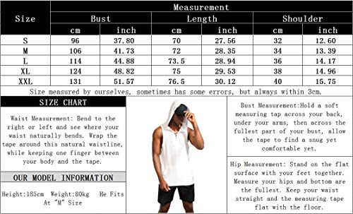 poriff Mens Hooded Tank Tops Workout Sleeveless Muscle Gym Bodybuilding Fitness T-shirt with Pocket S-XXL White M
