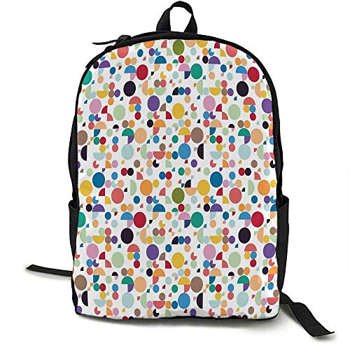 Geometric Light travel backpack Colorful Retro Oval Shapes Half and Full Circles Vintage Old School Illustration Multi-functional daily carrying 16.5 x 12.5 x 5.5 Inch Multicolor