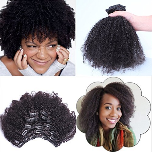 Virgin Mongolian Afro Kinky Curly Clip In Hair Extensions Human Hair Clip Ins Natural Black , 7 Pcs/Set, 08″(120g/set)