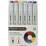 Marcador Artístico Sinoart Marker 06 Cores Básicas