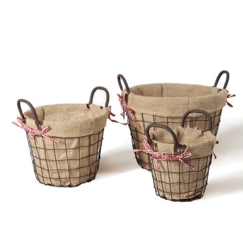 Adeco Circular Rustic Vintage-Inspired Iron Baskets Handles Burlap Lining Dark Brown Home Decor, Set of 3