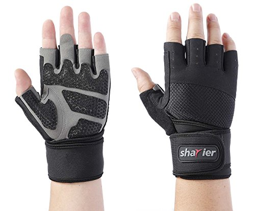 - Shayier Half-finger Protecting Gloves with Wrist Wraps Support for Gym Workout Fitness Cross Training Weight Lifting & Outdoor Sports (Large)