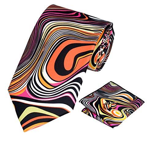 Barry.Wang Mens Orange Black Tie Set Necktie Pocket Square Cufflinks Holiday Tie