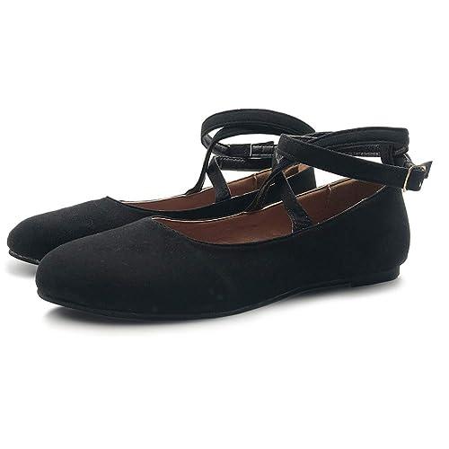 ebb8b8e690e V-DOTE Womens Ladies Ballet Flats Leather Elastic Crossing Ankle ...