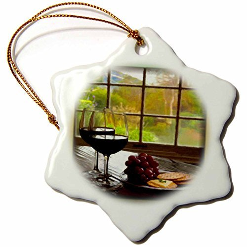 - pansy 3-Inch Porcelain Snowflake Decorative Hanging Ornament, Napa Valley In Painting-