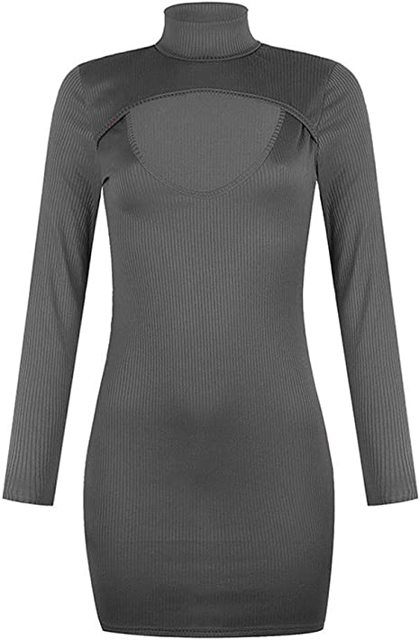 Lazapa Sweater Dress for Women Turtleneck V-Neck Long Sleeve Bodycon Dress Tight Slim Solid Color Mini Dress