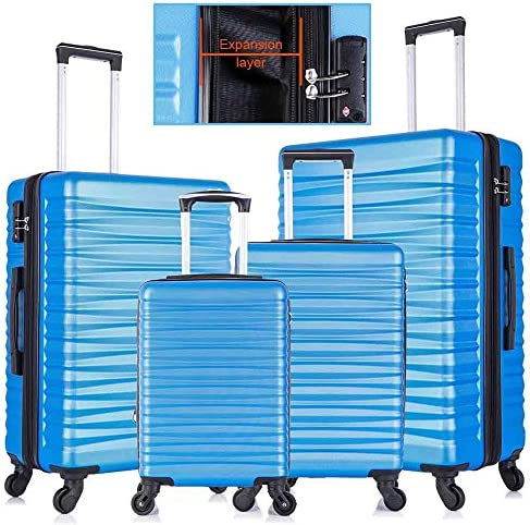 Apelila 4 Piece Luggage Sets,Travel Suitcase Spinner Hardshell Lightweight w Free Suitcase Cover Hanger Blue