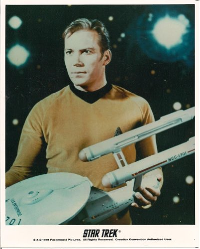 CAPTAIN KIRK HOLDING PROP ENTERPRISE SERIES PROMOTIONAL 8X10 LICENSED PHOTO (WILLIAM SHATNER)