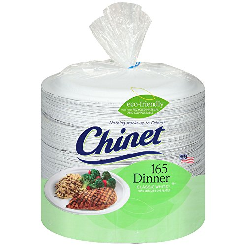 Chinet Classic White Paper Dinner Plates, 10 3/8 Inch, 165 Count
