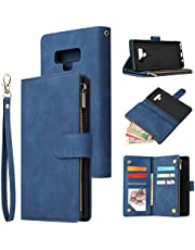 Jorisa Wallet Case Compatible with Samsung Galaxy Note 9,Retro PU Leather Zipper Magnetic Flip Phone Case with Card Slots Wrist Strap Folio Book Style Purse Stand Protective Cover,Blue