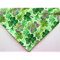 St. Patrick's day dog bandana, large assorted colorful shamrocks over the collar bandanna