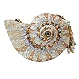 Mary Frances Nautilus Ocean Sea Shell Hand Beaded Bejeweled Convertible Clutch Shoulder Bag