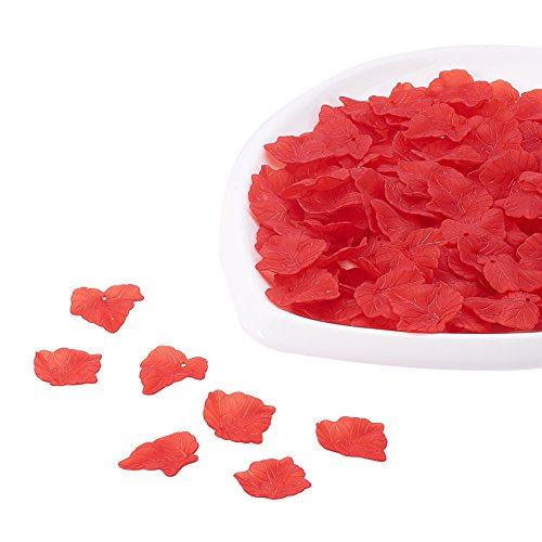 Red Transparent Necklace (PandaHall 962Pcs Transparent Frosted Style Maple Leaf Acrylic Charms Pendants Size 24x22.5x3mm Red)