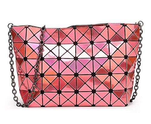 with Bag Light Geometric Orange Shoulder Metal Purse Sulliva Kayers Cross Women's Strap Chain Fashion Black Plaid body qfUx8vT