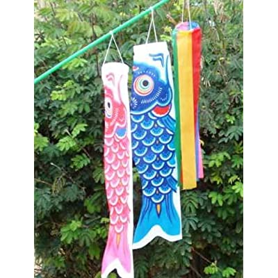 Koinobori Fish Windsock Set on a Stick #TKN006 : Wind Sculptures : Garden & Outdoor
