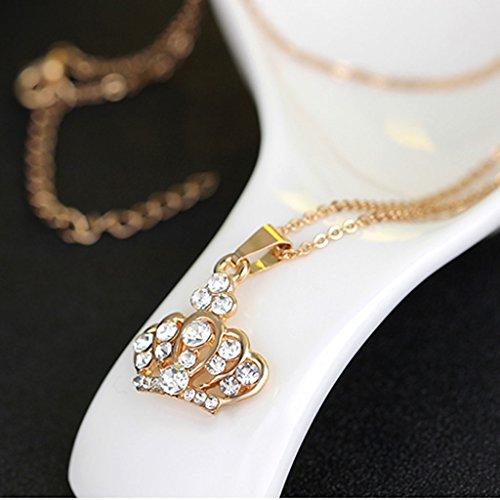 MagiDeal Femme Collier Bracelet Bague Boucles D'oreilles Couronne en Strass - Or