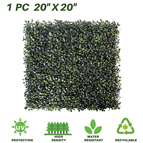 """Lush Space Boxwood Panels 1 Pack Artificial Topiary Hedge Greenery Fence Plants Multiple Purpose Garden Fence Backyard Party Indoor Outdoor Decor of 20"""" X 20"""" (1pc)"""