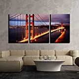 painting of san francisco - wall26 - 3 Piece Canvas Wall Art - Night Scene with Golden Gate Bridge and San Francisco Lights - Modern Home Decor Stretched and Framed Ready to Hang - 24