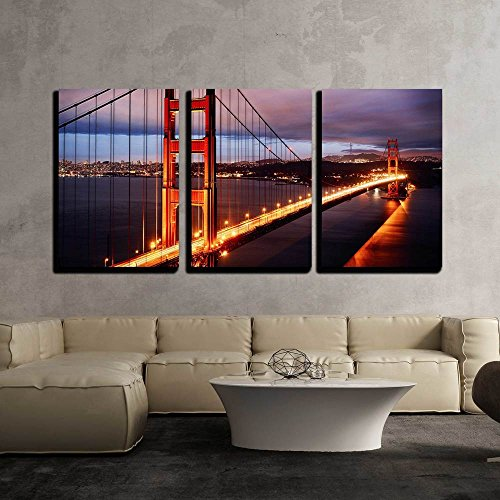 Gate Bridge (wall26-3 Panel wall26-3 Piece Canvas Wall Art - Night Scene with Golden Gate Bridge and San Francisco Lights - Modern Home Decor Stretched andWall Art (36