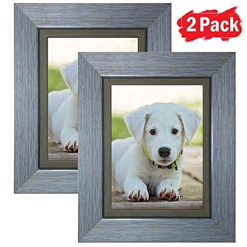 DY Frame 4x6 Picture Frame Retro Blue Rustic Home or Office Decor | Vertical or Horizontal Tabletop Stand or Wall Mounting | Baby, Pet, or Family Photos, Diploma