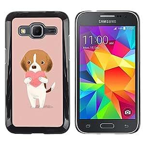 FlareStar Colour Printing Heart Pink Peach Drawing Cute Valentine cáscara Funda Case Caso de plástico para Samsung Galaxy Core Prime / SM-G360