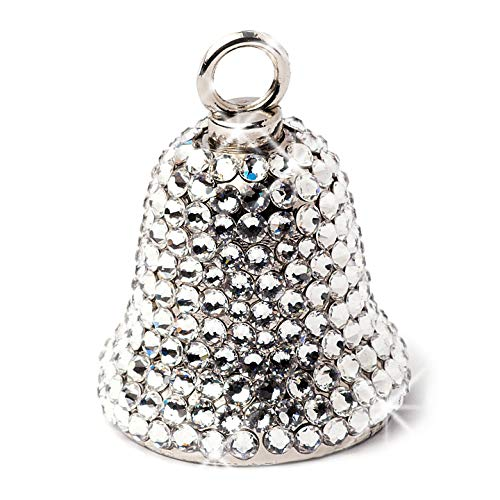 (Motorcycle Bell for Women Bikers Handcrafted with Rhinestone Crystals - Guardian Angel Bling Accessory for Good Luck & Gremlin Protection - Includes Luxury Gift Box & Key Ring, 1