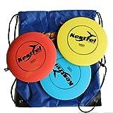 Kestrel Sports Plastic Disc Golf Pro Set Bundle of 3 Discs with Bag (Ages 6+)