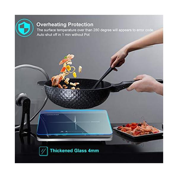Piastra ad induzione,Amzchef piano Cottura a induzione elettrica con superficie in vetro cristallo nero lucido, design… 4