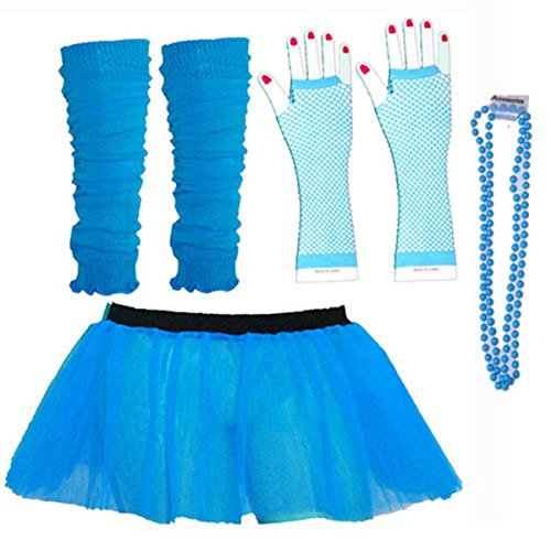 Kids Neon Colours UV Tutu Gloves Leg Warmers and Beads 1980s Fancy Dress - Uv Uk Dresses