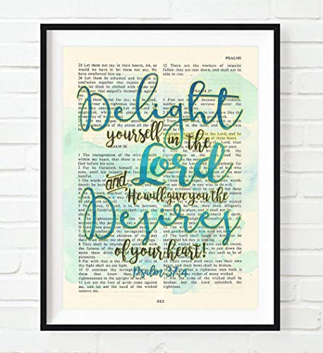 Delight yourself in the Lord, Psalm 37:4, Christian Art Print, Unframed, Vintage Bible Verse Scripture Abstract Watercolor Encouragement Wall Decor Poster Gift, 8x10 Inches