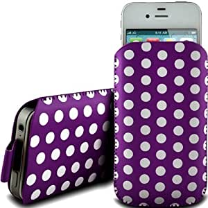 PURPLE POLKA DOT PREMIUM PU LEATHER PULL FLIP TAB CASE COVER POUCH FOR LG A250 BY N4U ACCESSORIES