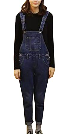 c9efcf65580 Amazon.com  WSPLYSPJY Women s Juniors Skinny Leg Torn Denim Overalls ...