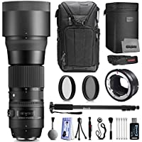 Sigma 150-600mm F5-6.3 DG OS HSM Professional Photography Zoom Lens for Sony with Filter Accessory Kit Including Backpack Filters Monopod Cleaning and Card Reader