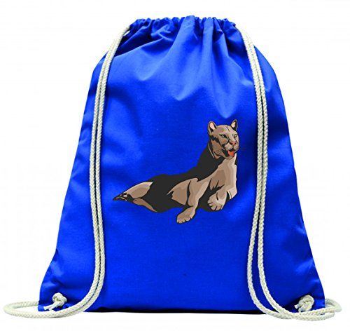 Turnbeutel Puma entspannt auf Boden Raubtier Wildnis Tier jagen mit Kordel - 100% Baumwolle- Gymbag- Rucksack- Sportbeutel Blau