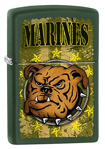Zippo Lighter Bull - Zippo USMC Bulldog Green Matte Pocket Lighter
