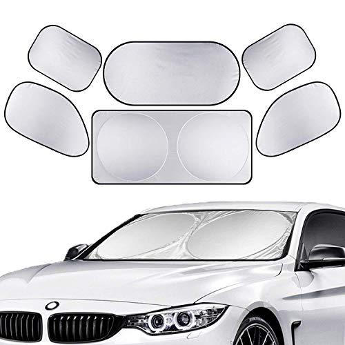 ALAVENTE 6Pcs Full Car Sunshade, Universal Windshield Window Sun Shade Side Folding Heat Reflector Vehicle Cool-UV Ray Protector Visor Shield Cover