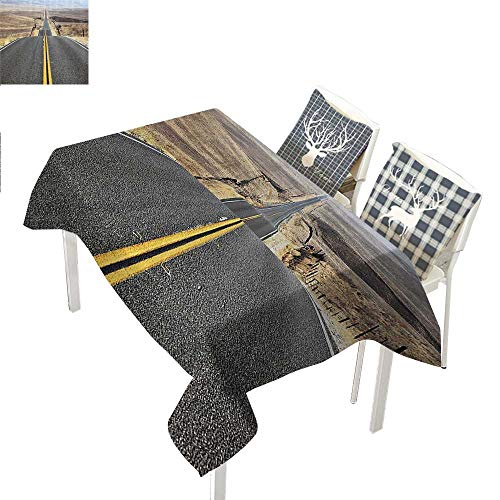 Americana Landscape Decor Cloth tablecloths Pacific Coast Highway on The Road Trip to Endless Desert Western PhotoGrey Rectangle Tablecloth W60 xL84 inch