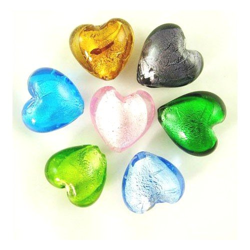 Packet of 20 x Mixed Foil Glass 20mm Puffy Heart Beads - (Y05245) - Charming Beads