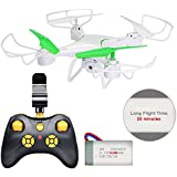 Drone with Camera, Honor-Y 20 Minutes Long Flight Time 6-Axis Gyro 2.4GHz RC Quadcopter Drone with FPV Camera Live Video Onekey Landing for Beginners,Kids and Adult ( White )
