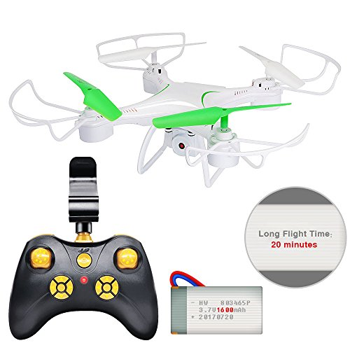 Honor-Y Drone with Camera, 20 Minutes Long Flight Time RC Quadcopter Drone 6-Axis Gyro Helicopter Drone with FPV Camera Live Video, One-key Landing For Kids, Beginners and Adults (White)