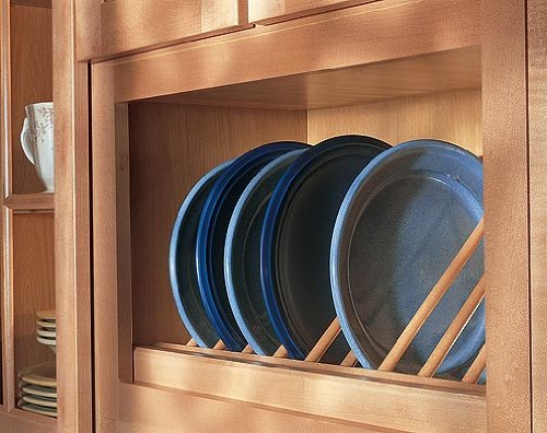 Omega National 24 inch W Angled Plate Display Rack, Red Oak - Oak Plate Rack